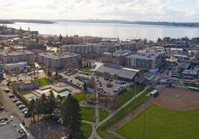 Kirkland Washington Downtown Aerial Panoramic View Looking Toward Lake Washington Seattle Skyline
